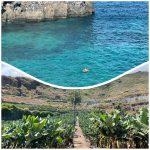 Un sendero, plataneras y una preciosa playa